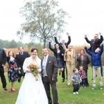 Hochzeit-Brautpaar-Familie